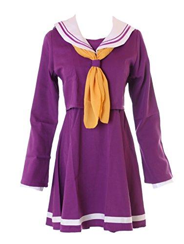 Game Kostüm No Life No Cosplay - Kawaii-Story MN-30 No Game No Life Shiro lila Schuluniform Schooluniform Cosplay Set Kostüm (XL)