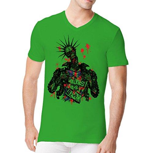 Gothic Fantasy Männer V-Neck Shirt - Zombie: Punk's not dead! by Im-Shirt - Kelly Green XXL