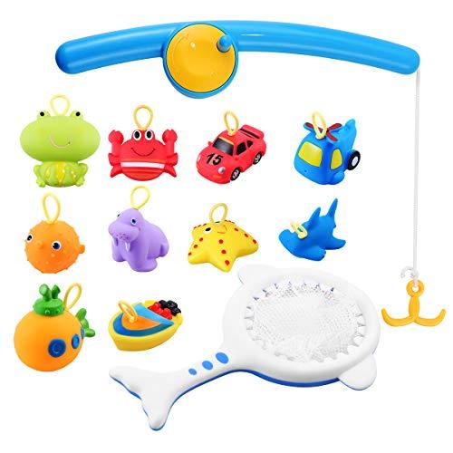 Toyvian giocattoli da bagno animali di mare veicoli spruzzatura dell'acqua squeaker divertente vasca da bagno giocattoli per bambini toddlers bambini - 12pcs