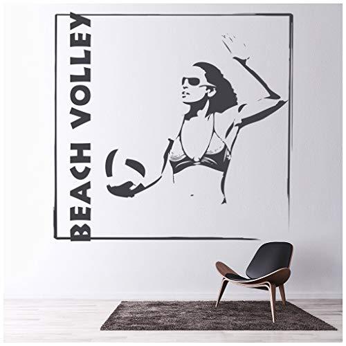 azutura Beach-Volleyball Wandtattoo Frauen Sport Wand Sticker Teenager Wohnkultur verfügbar in 5 Größen und 25 Farben Mittel Silber Metallic