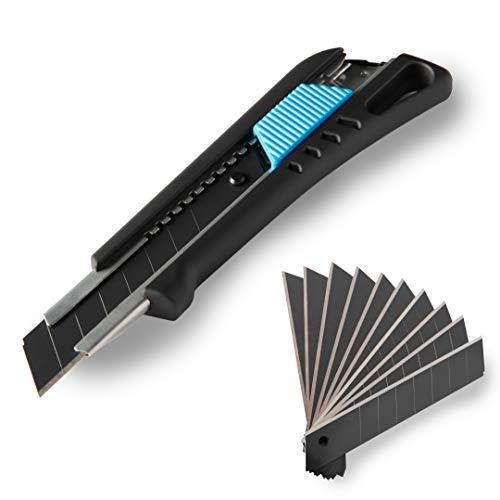 Cuttermesser 18 mm inkl. 13 Abbrechklingen | gummierter Griff | schwarze Klinge | Klingenmagazin | Teppichmesser, Cutter, Universalmesser (Schwarz)