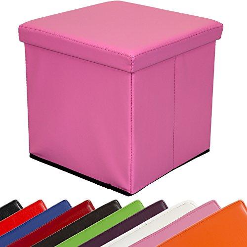 STILISTA Sitzwürfel 'CUBE', 38x38x38cm, Faltbox aus MDF + Kunstleder, Sitzbox faltbar, 10 Farbvarianten, Sitzhocker 3 Jahre Garantie