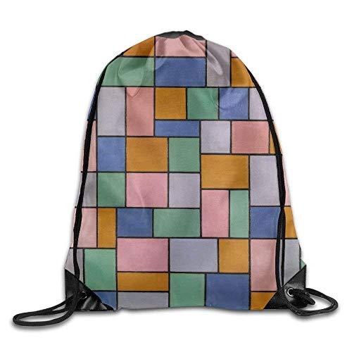 Needyo Rucksack mit Kordelzug Color Retro Gym Drawstring Backpack Unisex Portable Sack Bags (Jordan Retro 4 Große Kinder)