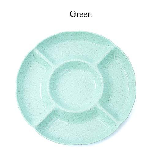 XOSHX Runde Frucht-Plastikschüssel-Lebensmittel-fünf Gitter-Familien-Nachtischteller-Imbiss-Teller-einfache Partei-Hauptwartungs-Behälter-Platte Grün (Mit Trim Kunststoff-platten Gold)
