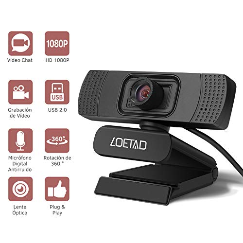 LOETAD Cámara Web 1080P Full HD Webcam con Micrófono Estéreo para Video Chat y Grabación Compatible con Windows, Mac y Android