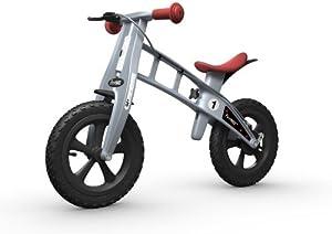 FIRSTBIKE - Bicicleta de Equilibrio con Freno, Modelo Cross, Color Plata (L2002)