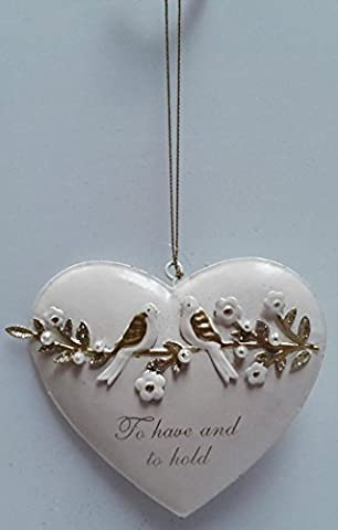 White & Gold Hanging Love Heart - To Have and to Hold - Love Bird detail - Gisela Graham - Ideal Wedding or Anniversary