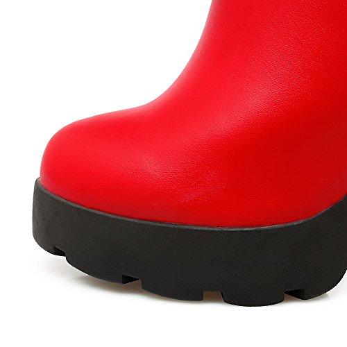 AllhqFashion Damen Niedrig-Spitze Rein Reißverschluss Rund Zehe Hoher Absatz Stiefel Rot