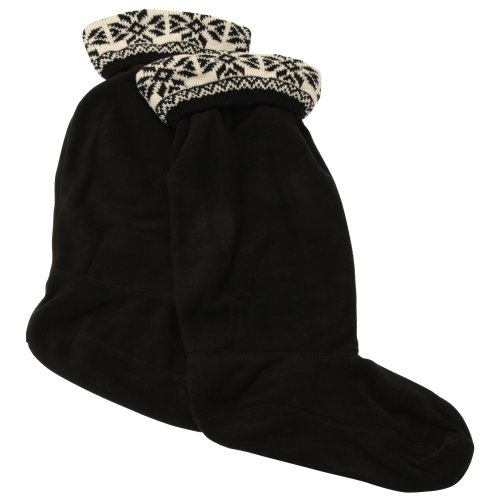 Damen Fleece-Socken / Gummistiefel-Socken / Stiefel-Socken mit Fairisle-Muster (35-38 EUR) (Schwarz)