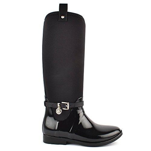 MICHAEL by Michael Kors Charm Stretch Black Rubber Tall Rain Boot 40EU/7UK...