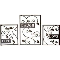 hosleyâ Juego de tres color marrón oscuro hierro té candelabro de pared–Laugh, Love, Live; Hecho a mano por artesanos. Regalo ideal para boda, Spa, aromaterapia, té luz vela votiva en jardines