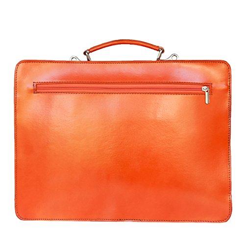 Leather Briefcase, Valigetta in pelle / business / laptop bag con tracolla, mod. 2027-p (39 / 29 / 11 cm) Italia Arancione (arancione)