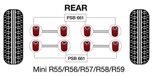 PSB PSB661 Kit de baguettes en polyuréthane R50, 52, 53, 55, 57, 58, 59, 60, 61 (2001-2016) pour bras latéraux supérieur/inférieur