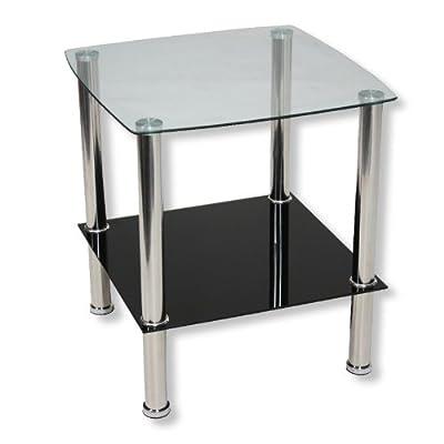 ROLLER Beistelltisch TWIGGI - Glasplatten - silber-schwarz