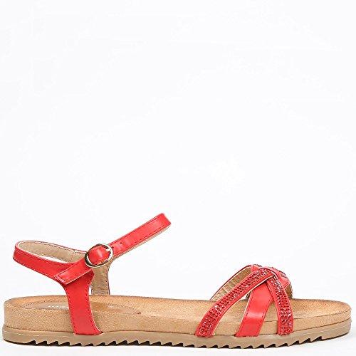 Ideal Shoes Sandales Plates avec Lanières Entrecroisées et strassées Galeane Rouge