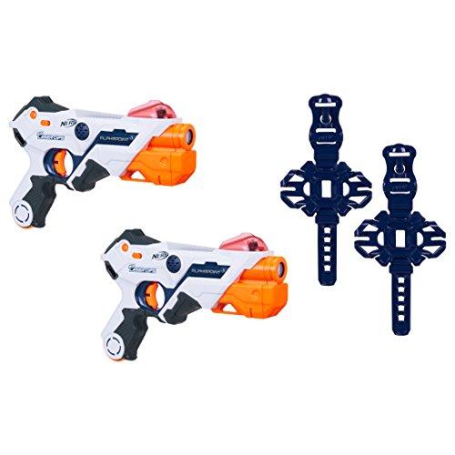Nerf Laser Ops AlphaPoint, 2er Set, LaserTag-Blaster mit Licht- & Soundeffekt, Kinder-Spielzeug, inkl. Schnell-Lade-Taste für Infrarot-Schüsse, auch für Erwachsene