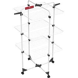 Vileda – Séchoir à linge Mixer 3 – Séchoir tour modulable à 3 étages – Intégrable dans la douche/la baignoire – Avec une capacité de séchage de 30 m