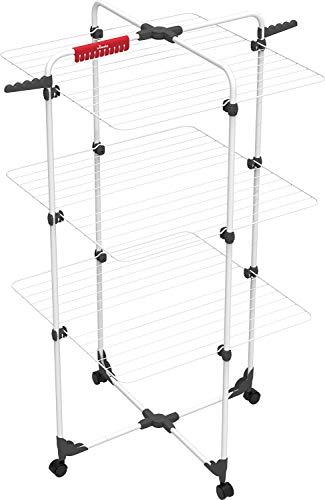 Vileda Mixer 3 - Tendedero vertical de torre de acero, 30 metros de espacio de tendido, 3 rejillas, soporte para ropa pequeña y perchas, dimensiones abierto 137 x 71 x 71 cm, color blanco