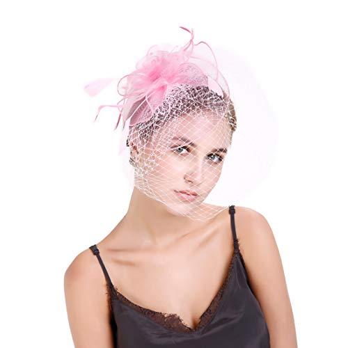 Durio Fascinator Stirnband Damen Netz Blume Haarreif Haarclip Hut für Cocktail Party Kopfschmuck Pink