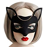 Máscara de ojos ZijianZJ, regalo de Navidad, estilo retro, de encaje negro, con borla de rosa roja, sexy, máscara de media cara, para Halloween, máscaras, parejas, cosplay