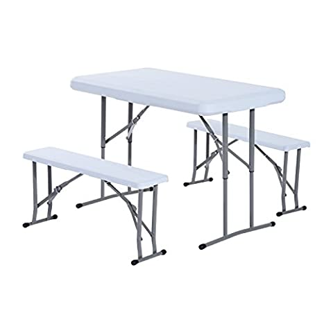 Outsunny 3PC Folding Portable Camp Table Stool Set Outdoor Garden Party Picnic BBQ w/ 1 Table 2 Bench
