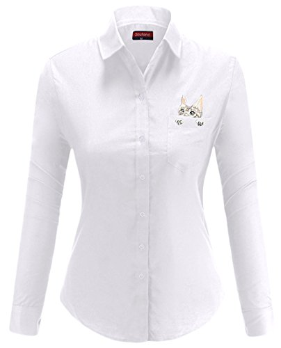 Dioufond Camisas Mujer Manga Larga Estampada de Gato con Bolsillo Camiseta y Blusa (Blanco XXL)