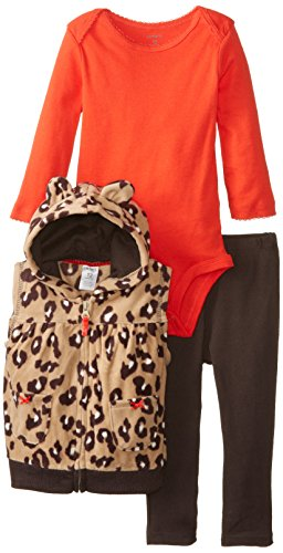 CARTER'S 3 teilig Weste Body Hose Baby Mädchen Outfit Kleidung Kapuze 3 Teile (0-24 Monate) girl, Braun Rot, 62/68 Girl Carters Leoparden-print