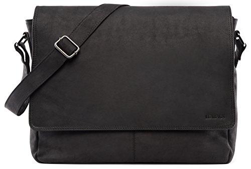 LEABAGS Oxford Umhängetasche aus echtem Büffel-Leder im Vintage Look - Schwarz