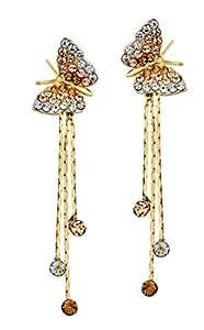 Ananth Jewels Swarovski Elements Auden Rhinestone Butterfly Drop Earrings for Women