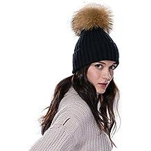 8dff89cc074f URSFUR Femme Fille Chapeau Bonnet Tricot Pompon En Vrai Fourrure Torsade  Hiver
