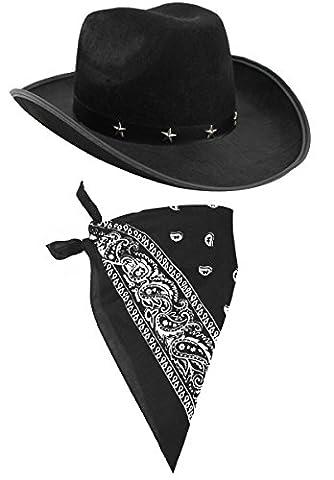 COWBOY FANCY DRESS ACCESSORY SET COSTUME BLACK STAR STUDDED COWBOY HAT & COLOURED BLACK PAISLEY BANDANA WILD WEST WESTERN SHERIFF BANDANNA ILOVEFANCYDRESS® (BLACK BANDANA - PACK OF 1)