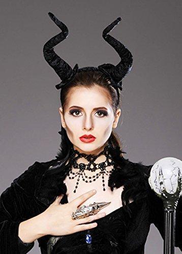 Womens böswillige Stil lange schwarze Dämon (Maleficent' Kostüm Kopfbedeckung)