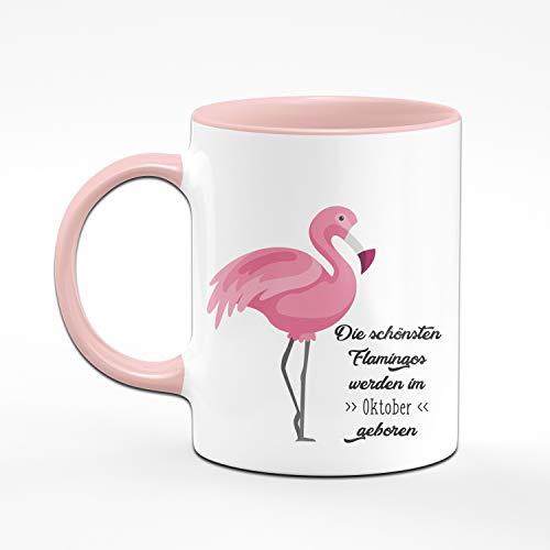 Tassenbrennerei Flamingo Tasse mit Spruch Die schönsten Flamingos Werden im Oktober geboren - Geschenk zum Geburtstag, Geburtstagstasse, Tassen mit Sprüchen lustig (Oktober) - 2