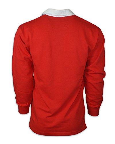 Printmeashirt Herren Langarmshirt Mehrfarbig - Multicolore - Rouge/blanc