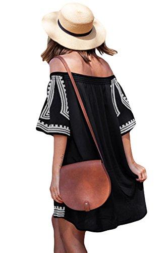 Damen Boho Chic Bohemian Stickerei Abdeckung Bademode Minikleid Schwarz Geometrisch