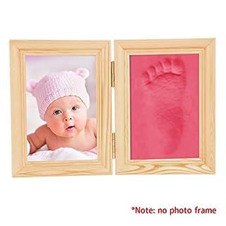 AIMADO Baby Handabdruck und Fußabdruck Ton Rahmen Echtholz Babyrahmen mit schadstofffreiem Lehm Baby Geschenk Andenken Babyparty Hochzeit (Rot3)