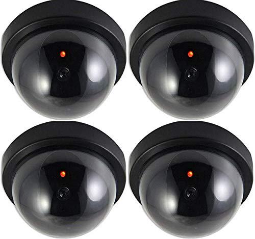 4X Domkameras Dummy Kamera Attrappe mit Objektiv und Blinkled Videoüberwachung Warensicherung