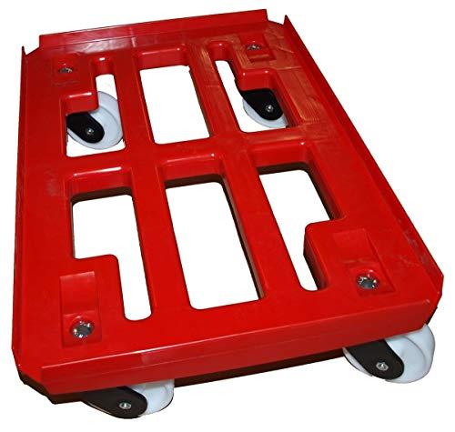 Transportroller für Boxen 600x400 mm PP Rahmen 4x Kunststoff-Lenkrolle ø 100mm, Kunststoffräder natur. (rot) -