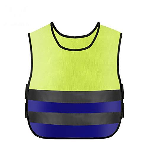 Finebuying Kinder Reflektor Weste Warnweste Reflektierende Laufweste Getriebe bleiben sichtbar Sichere ultraleichte und komfortable Motorrad-Warnweste Sicherheitsweste (Gelb & Blau) (Kinder Bauarbeiter Verkleiden)