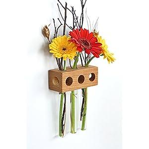 Fenstervase Eiche 3er Blumenvase Test Tube Vase Flower Vase