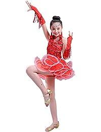 5ea29415a974 BOZEVON Abiti da Ballo Latino per Bambini Costumi di Danza Latina Ragazze  Paillettes di arricciata Gonna