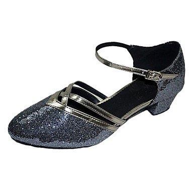 Silence @ Chaussures de danse pour femme moderne/piste de danse Paillettes scintillantes Chunky Talon Argenté/doré noir