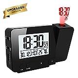 OurLeeme Reloj de proyección con Pantalla LED Reloj de Alarma Alimentado a batería con 2 alarmas, Temperatura Interior, Humedad para Uso en Interiores con Dormitorio en casa (Negro)