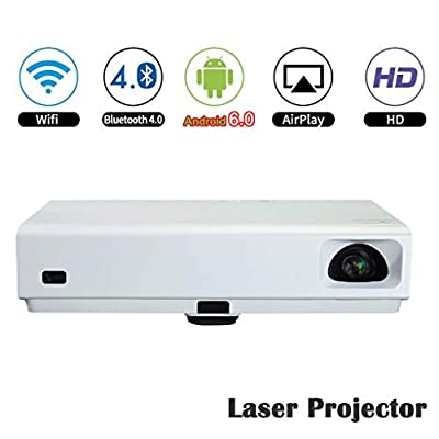 Android6.0 Laser Projector,DLP Home Theater 3D Projector Mini Portable 1080P Full HD Quad Core WiFi Bluray Movies HDMI USB3.0 RJ45 Bluetooth4.0 6000 LED Lumens for School Church MK65X