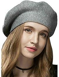 Suvimuga Boina Sombrero De Lana Slouchy Boinas Francesas para Mujeres  Señoras Chicas fd68e522af5
