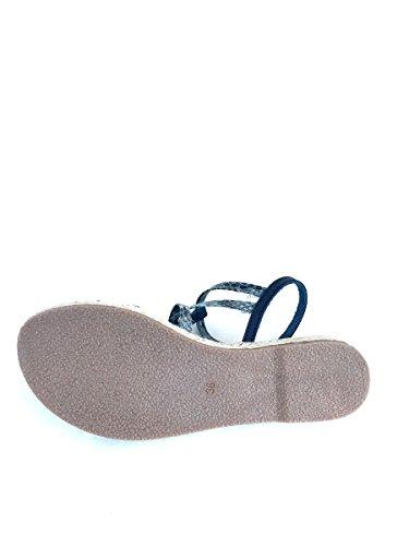 Sandali in pelle pitone BT342722 tacco basso blu cuoio MainApps Blu