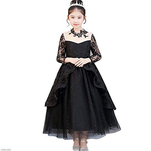 DDHZTA Halloween-Kostüm Kinder Black Fantasy Langärmeliges Abendkleid Rolle-Spielen -