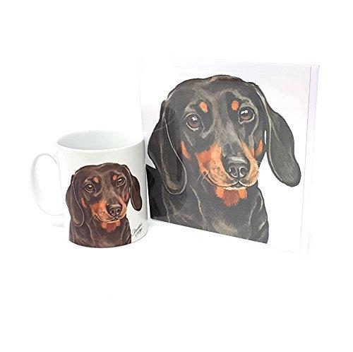 Ensemble 2 pièces TECKEL CHIEN fabriqué en Royaume-Uni Tasse en céramique mug pot accueil anniversaire carte de Noël
