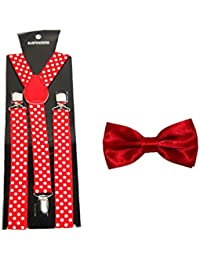 Men's Polka Dot Suspenders/Braces with Matching Bow Tie – Choice of 9 Colours
