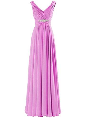 Azbro Women's Elegant V Neck A-line Chiffon Long Evening Prom Dress Orange
